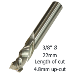 3/8 Ø COMPRESSION 2F x 22mm x 4.8mm up/cut x 3/8 M