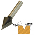 V Groover TCT 68° x 15mm x 1/4 Shank F